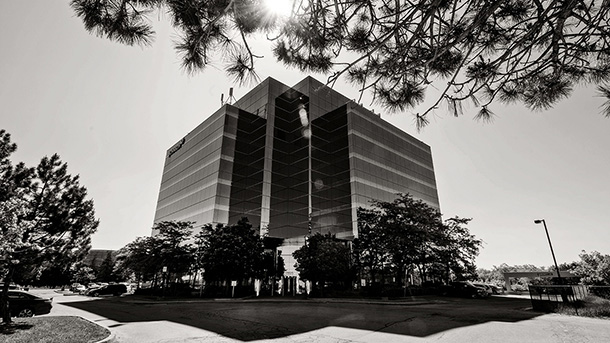 Black and White of office building exterior