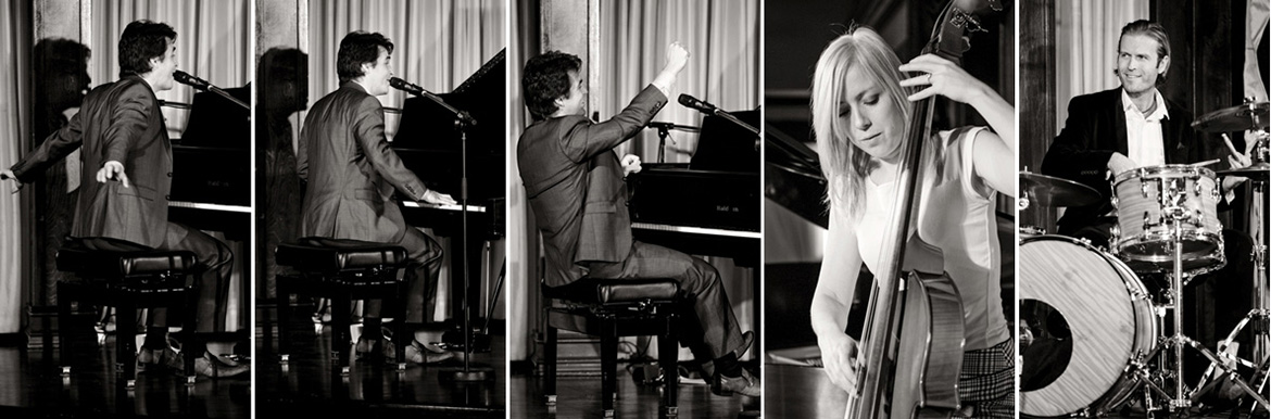 Brent Miller Live Trio Performace of piano, stand up base and drums