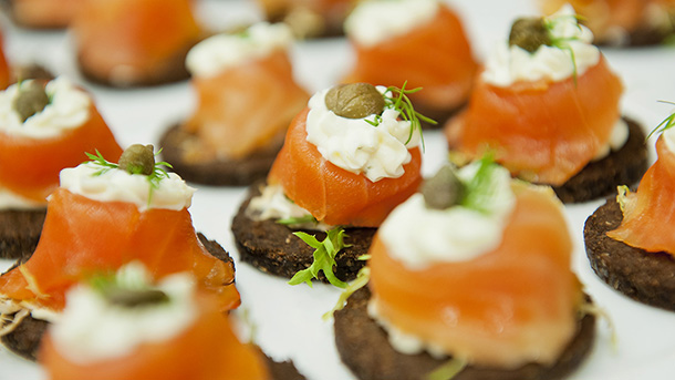Closeup of Salmon hors d'oeuvres