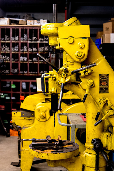 Auto Repair Shop Large Yellow Drill Press