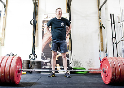 Participant prepares to powerlift