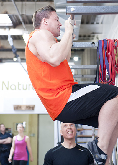 Participant performs a bodyweight challange