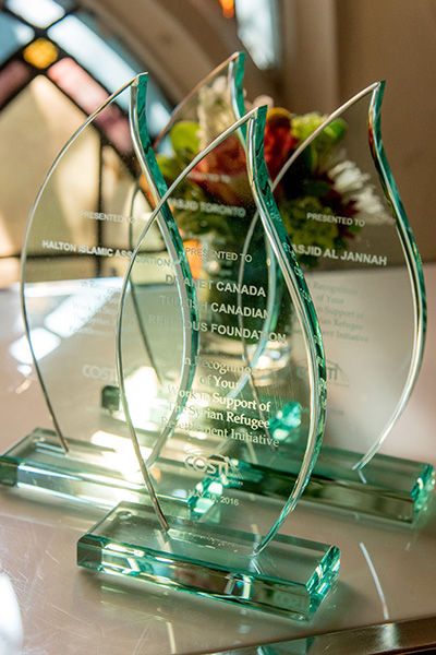 Closeup of the awards provided to the organizations