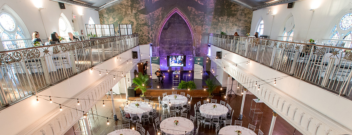View of the main floor and balcony set up for the event