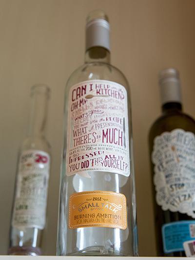 Vineyard Wine Bottles on display