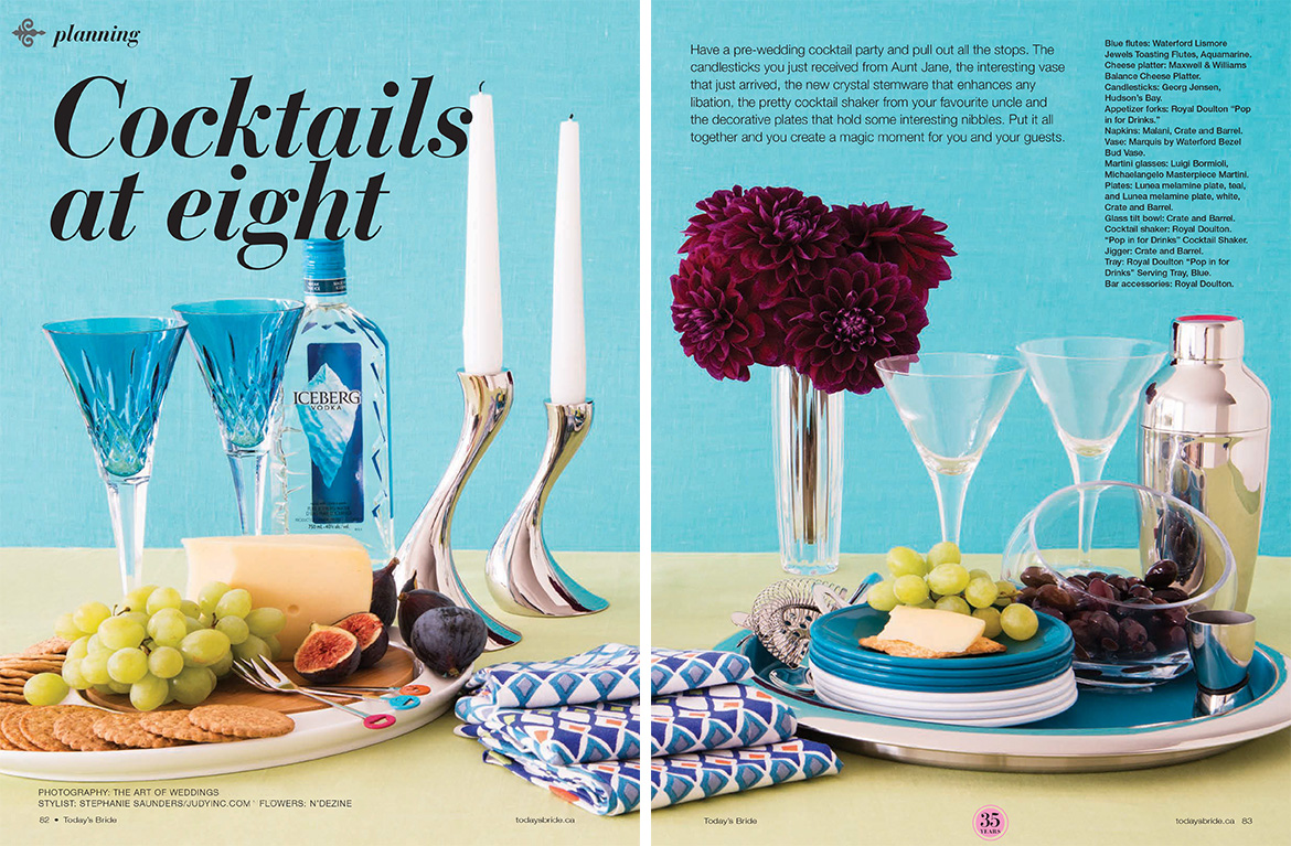 Coctails at eight 2 page spread featuring pre-wedding coctail party tips