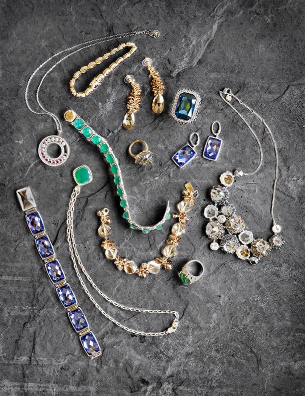 Jewel toned jewellry arragement