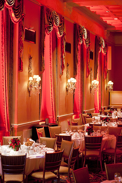 Interior of the ballroom and table settings