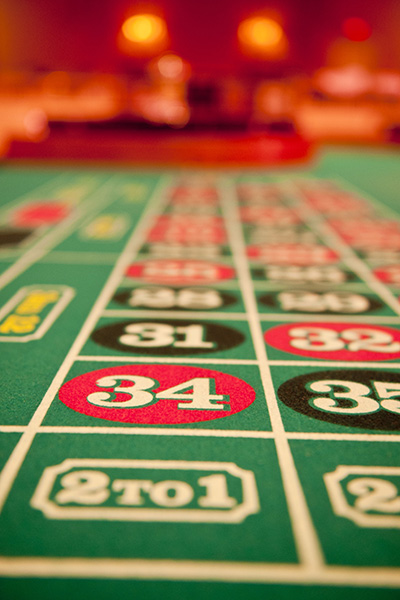 Closeup of roulette table - red 34