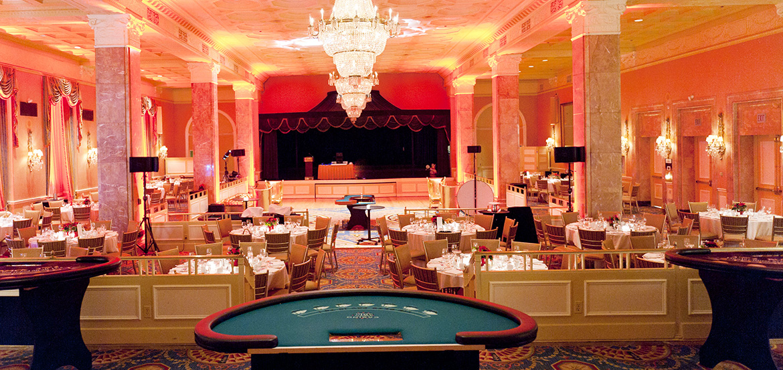 Interior of the ballroom showing dancefloor, stage and blackjack table
