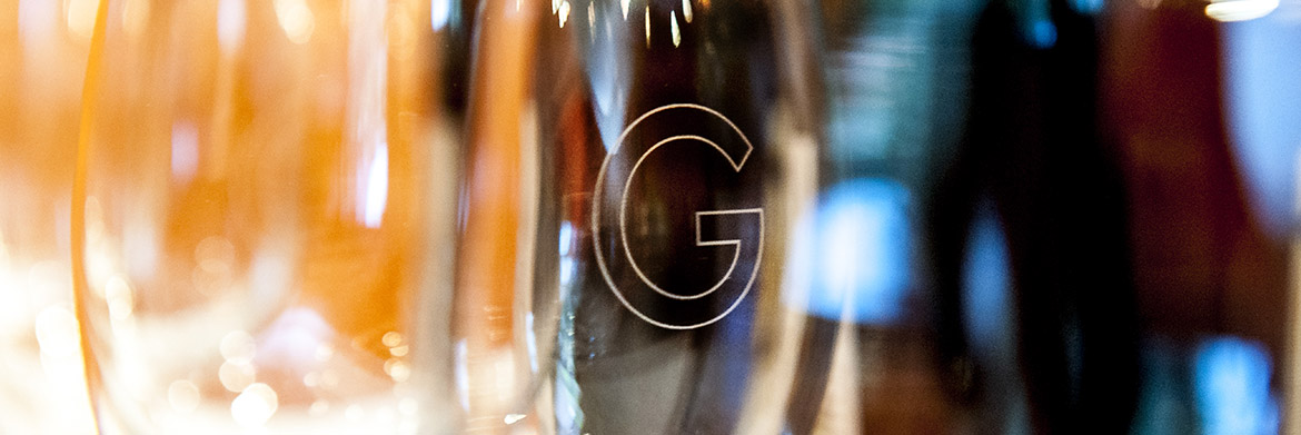 Upclose of George Restaurant Glass