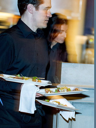 Cuisine & Couture Event, Servers bring out plates