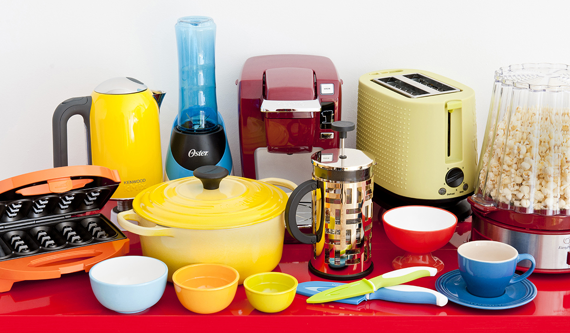 Kitchen Appliances and Accessories in primary colors