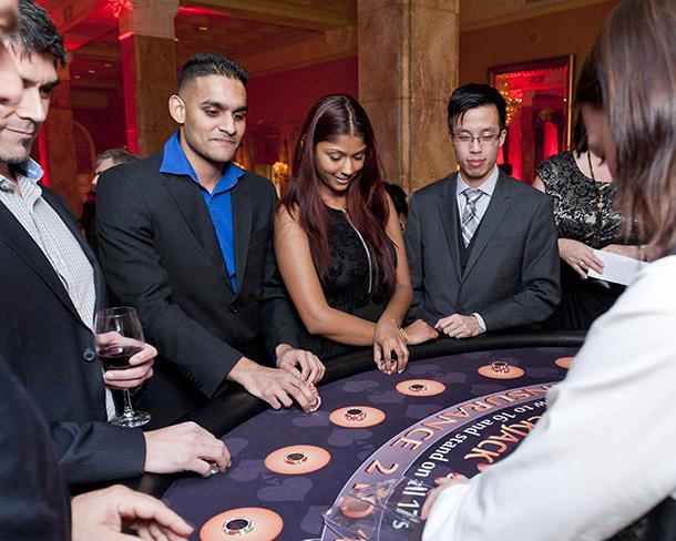 Guests enjoy a game of blackjack