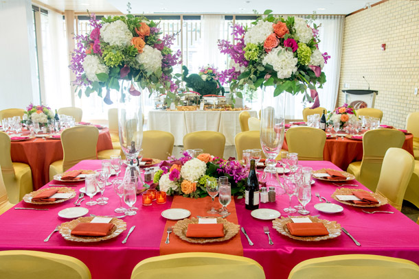 Bright table setting Alderlea Queen Elizabeth II Jubilee Pavilion