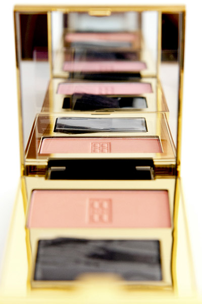 Yves Rocher beauty product photography, gold compact with brush