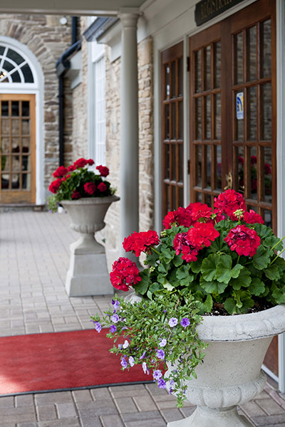Flower pots welcome guests at the entrance