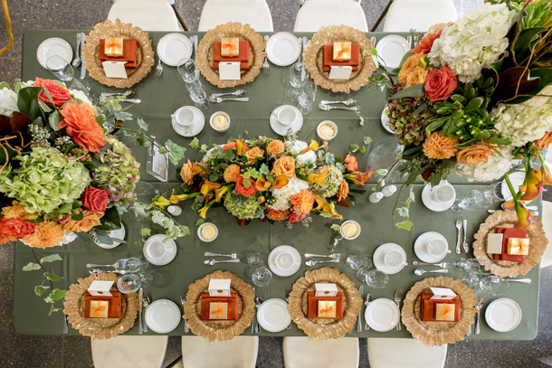 Green and Peach table setting from above