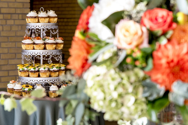 Floral and cupcake display