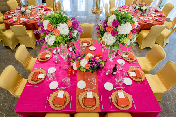 Alderlea 10 table settting in pink and gold