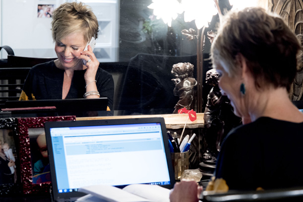 Jane Durst-Pulkys making calls in her office